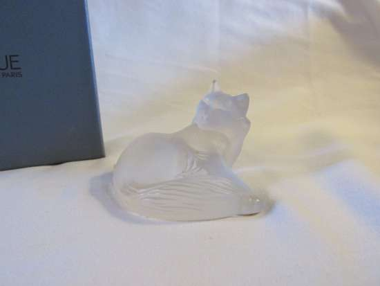 Lalique Crystal Reclining Heggie Cat - $180 obo